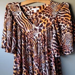 Vintage leopard print dress s m-xl